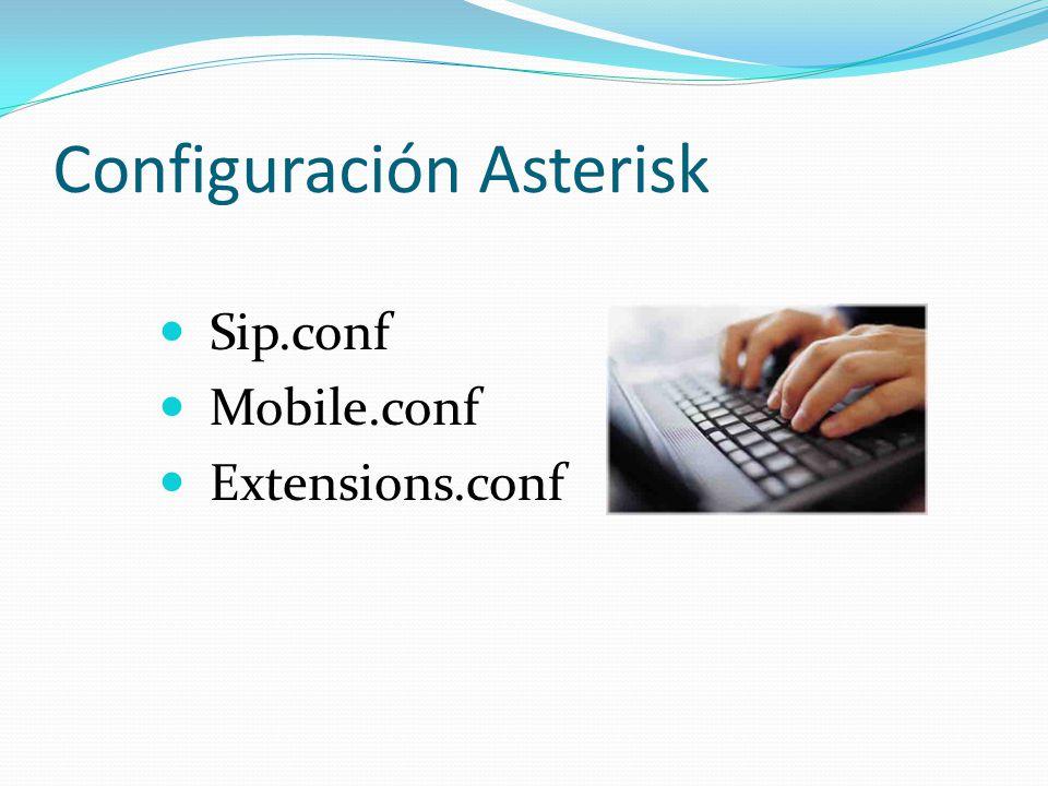 Configuración Asterisk Sip.conf Mobile.conf Extensions.conf
