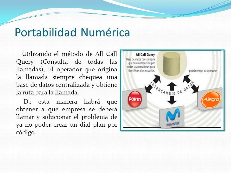 Portabilidad Numérica Utilizando el método de All Call Query (Consulta de todas las llamadas), El operador que origina la llamada siempre chequea una base de datos centralizada y obtiene la ruta para la llamada.