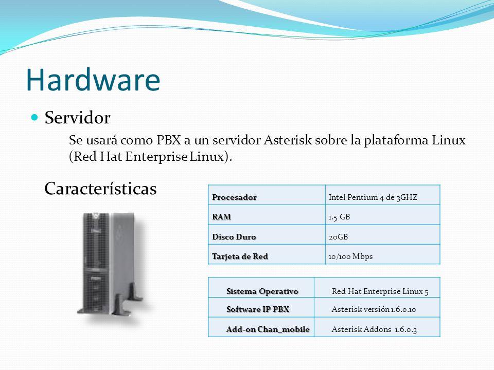 Hardware Servidor Se usará como PBX a un servidor Asterisk sobre la plataforma Linux (Red Hat Enterprise Linux).