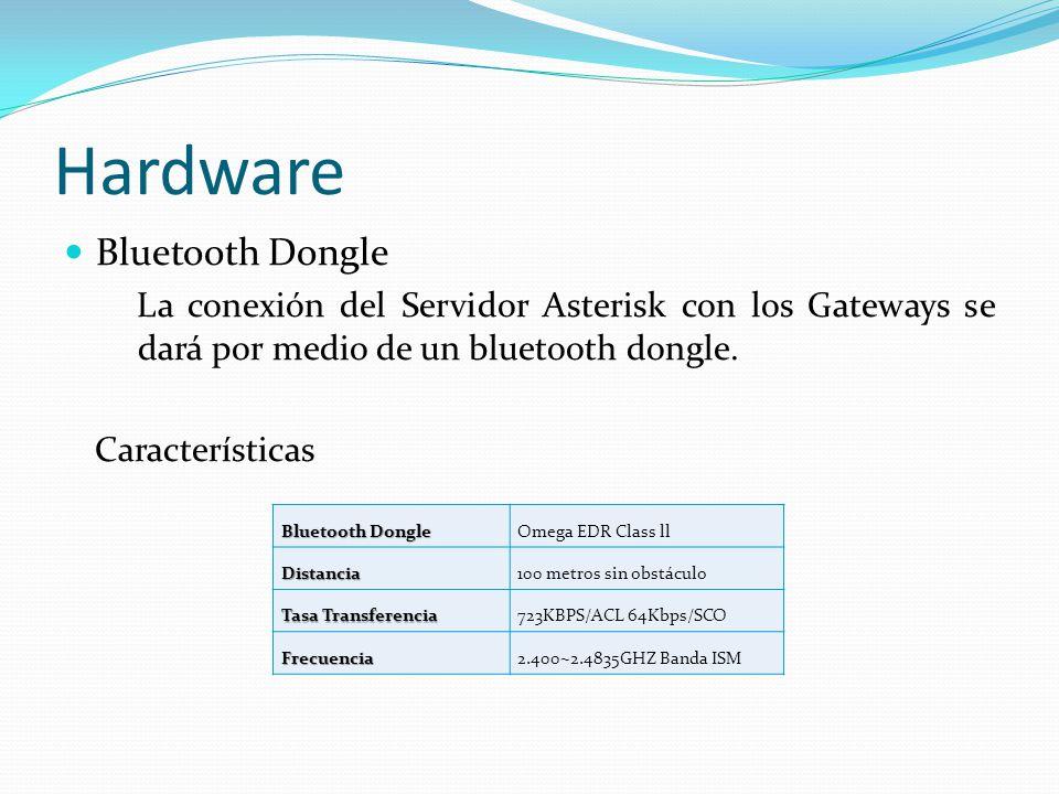 Hardware Bluetooth Dongle La conexión del Servidor Asterisk con los Gateways se dará por medio de un bluetooth dongle.