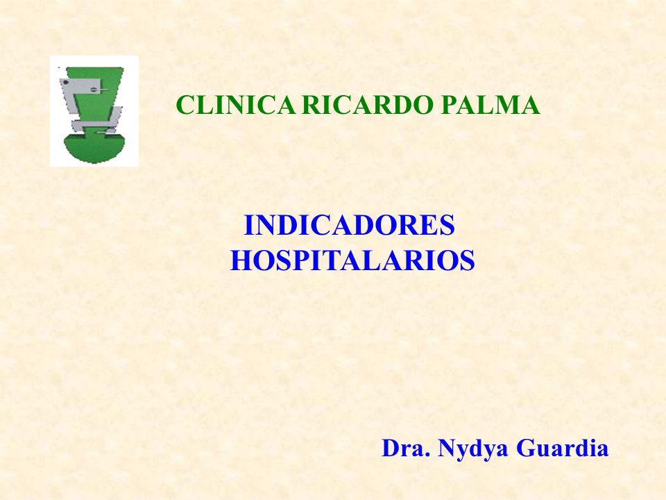 INDICADORES HOSPITALARIOS CLINICA RICARDO PALMA Dra. Nydya Guardia