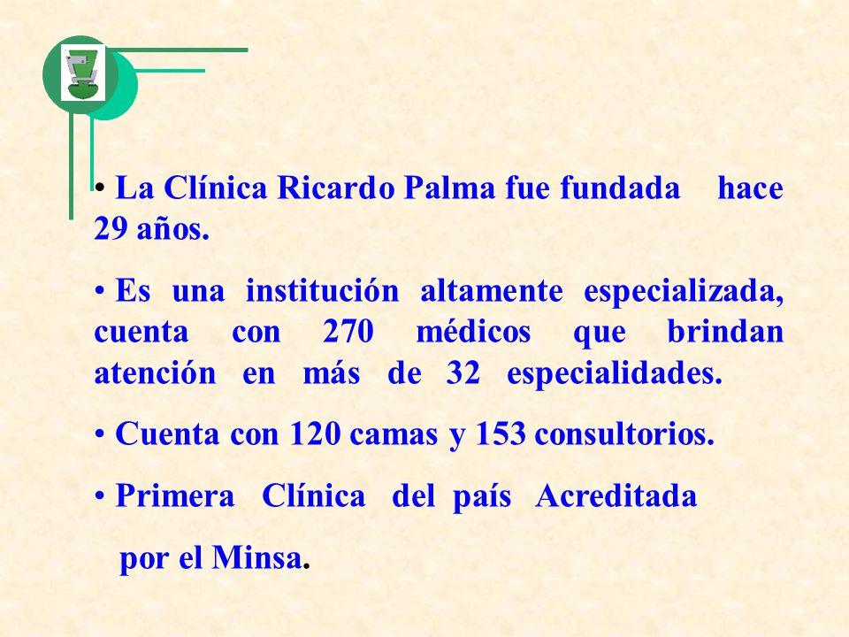 La Clínica Ricardo Palma fue fundada hace 29 años. Es una institución altamente especializada, cuenta con 270 médicos que brindan atención en más de 3