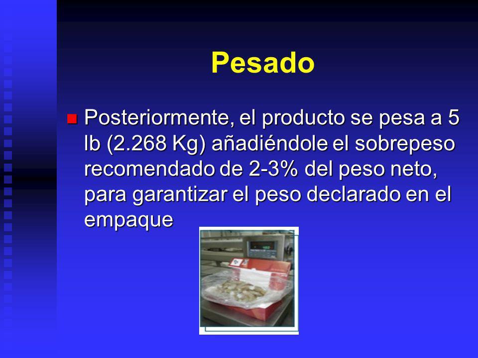 Pesado Posteriormente, el producto se pesa a 5 lb (2.268 Kg) añadiéndole el sobrepeso recomendado de 2-3% del peso neto, para garantizar el peso decla