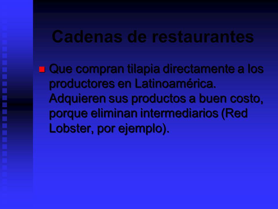 Cadenas de restaurantes Que compran tilapia directamente a los productores en Latinoamérica. Adquieren sus productos a buen costo, porque eliminan int