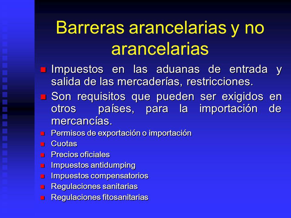 Barreras arancelarias y no arancelarias Impuestos en las aduanas de entrada y salida de las mercaderías, restricciones. Impuestos en las aduanas de en