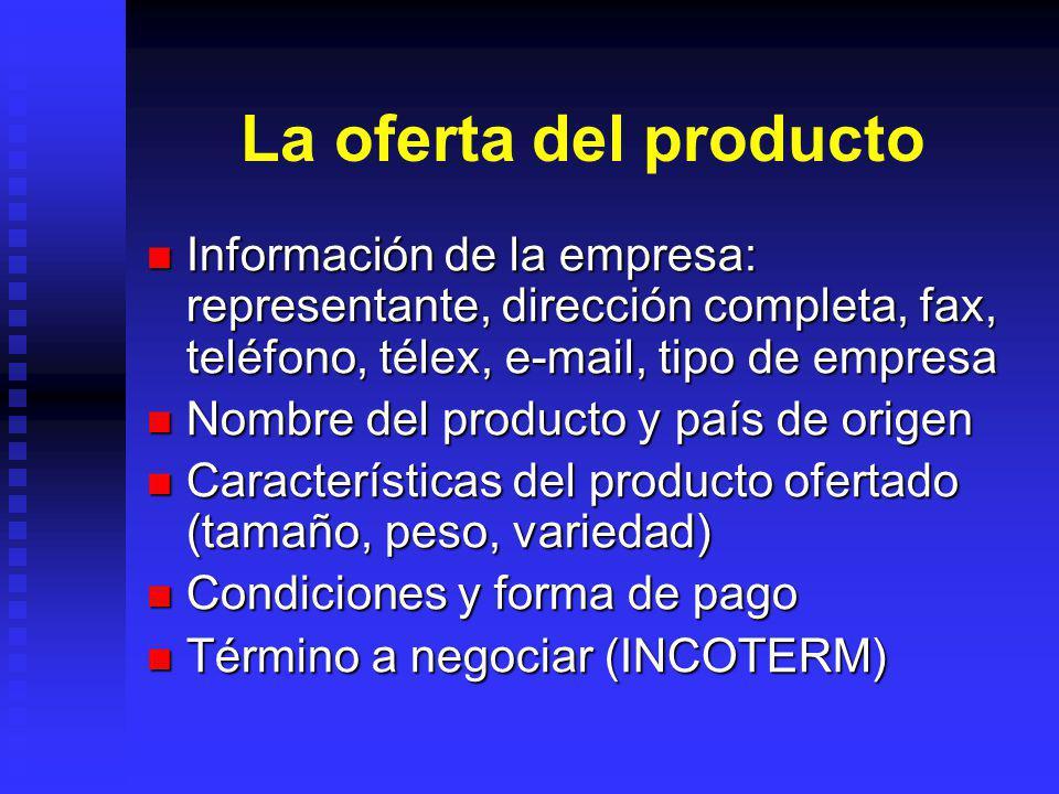 La oferta del producto Información de la empresa: representante, dirección completa, fax, teléfono, télex, e-mail, tipo de empresa Información de la e