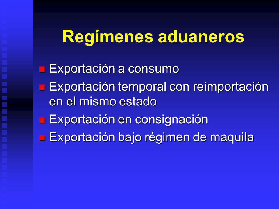 Regímenes aduaneros Exportación a consumo Exportación a consumo Exportación temporal con reimportación en el mismo estado Exportación temporal con rei