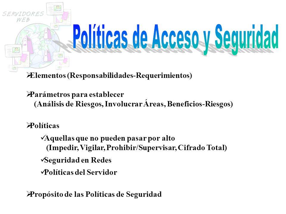 Elementos (Responsabilidades-Requerimientos) Parámetros para establecer (Análisis de Riesgos, Involucrar Áreas, Beneficios-Riesgos) Políticas Aquellas