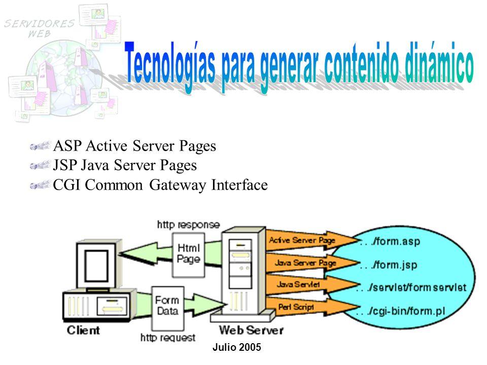 ASP Active Server Pages JSP Java Server Pages CGI Common Gateway Interface Julio 2005