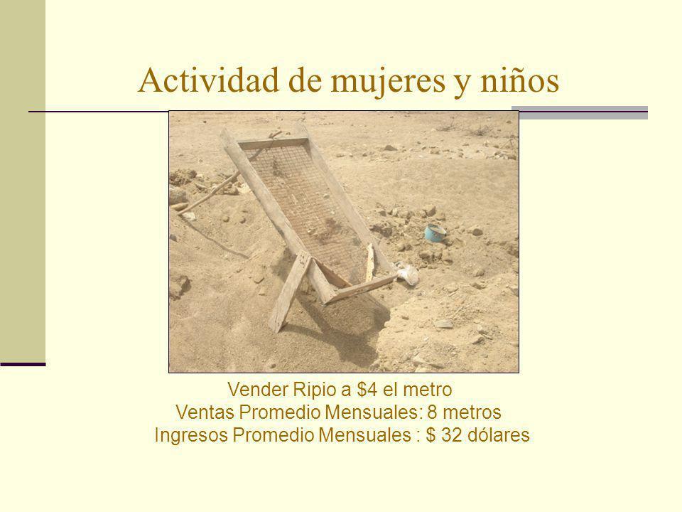 Actividad de mujeres y niños Vender Ripio a $4 el metro Ventas Promedio Mensuales: 8 metros Ingresos Promedio Mensuales : $ 32 dólares