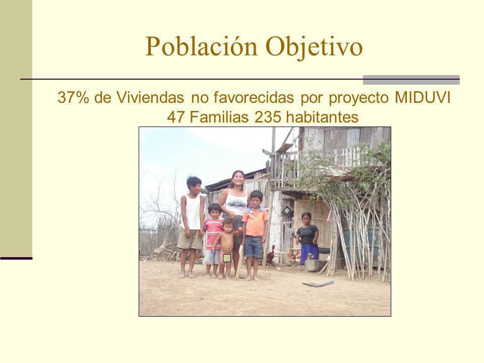 37% de Viviendas no favorecidas por proyecto MIDUVI 47 Familias 235 habitantes Población Objetivo