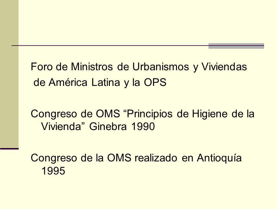 Foro de Ministros de Urbanismos y Viviendas de América Latina y la OPS Congreso de OMS Principios de Higiene de la Vivienda Ginebra 1990 Congreso de l