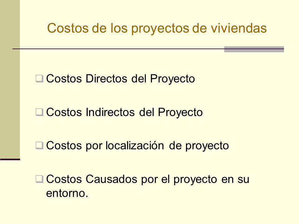 Costos de los proyectos de viviendas Costos Directos del Proyecto Costos Indirectos del Proyecto Costos por localización de proyecto Costos Causados p