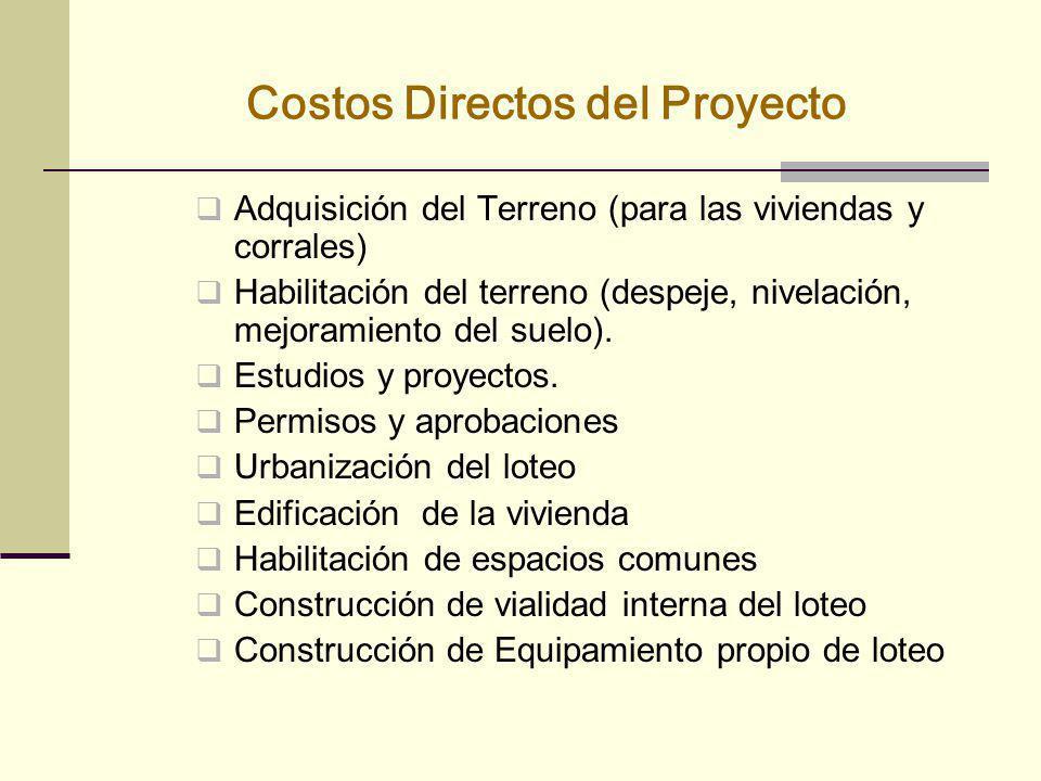 Costos Directos del Proyecto Adquisición del Terreno (para las viviendas y corrales) Habilitación del terreno (despeje, nivelación, mejoramiento del s