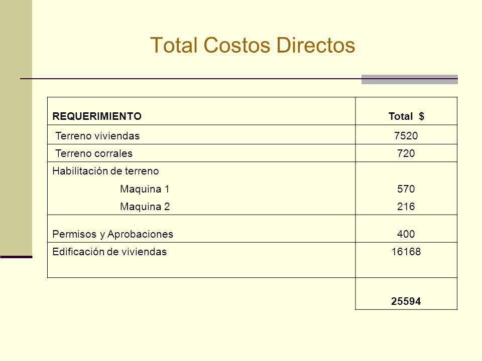 Total Costos Directos REQUERIMIENTOTotal $ Terreno viviendas7520 Terreno corrales720 Habilitación de terreno Maquina 1570 Maquina 2216 Permisos y Apro