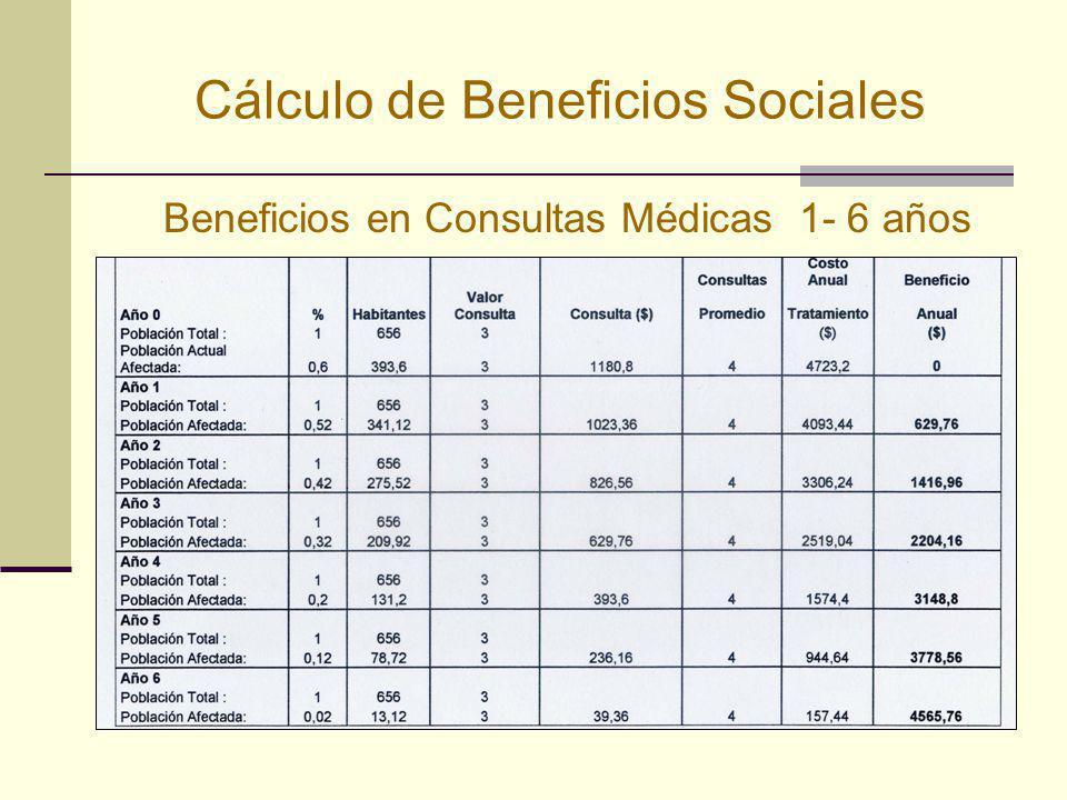 Cálculo de Beneficios Sociales Beneficios en Consultas Médicas 1- 6 años