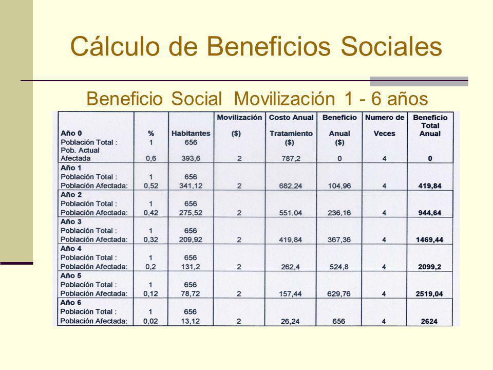 Cálculo de Beneficios Sociales Beneficio Social Movilización 1 - 6 años