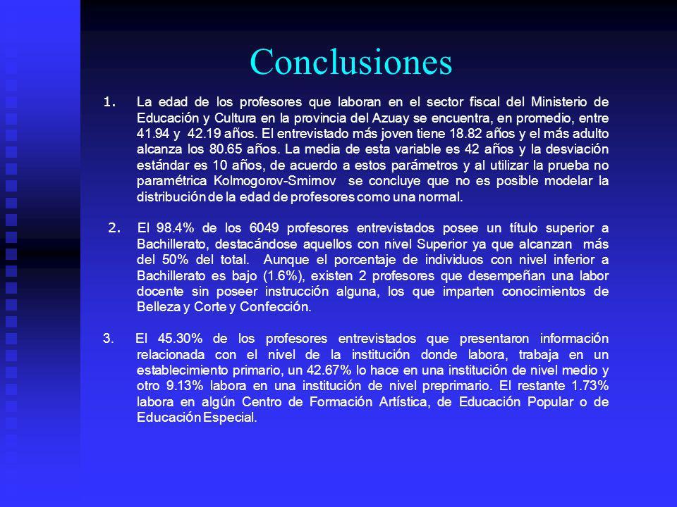 Conclusiones 1. La edad de los profesores que laboran en el sector fiscal del Ministerio de Educaci ó n y Cultura en la provincia del Azuay se encuent