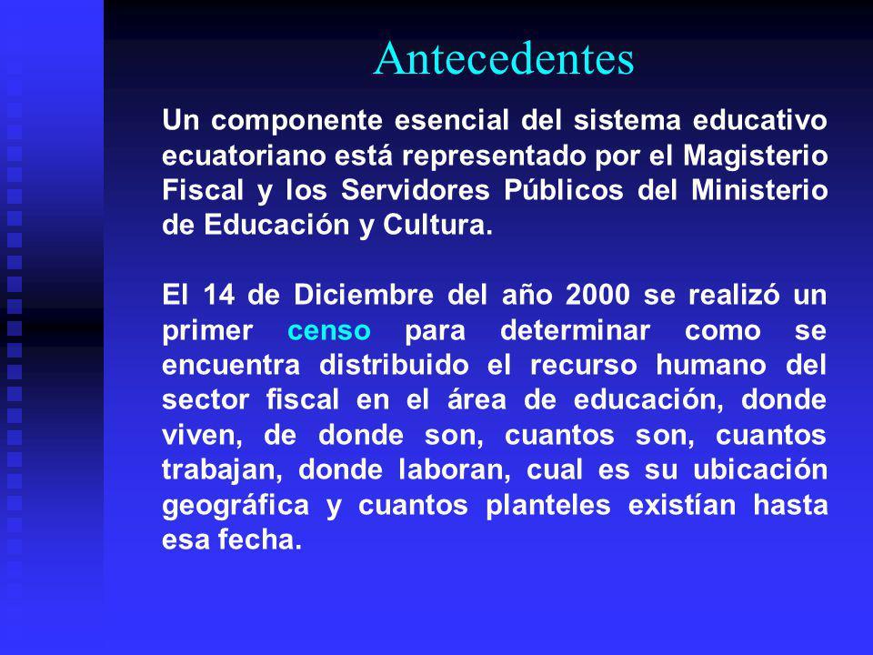 Antecedentes Un componente esencial del sistema educativo ecuatoriano está representado por el Magisterio Fiscal y los Servidores Públicos del Ministe