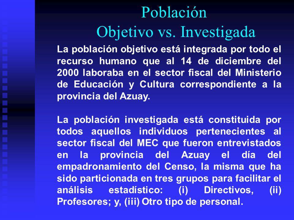 Población Objetivo vs. Investigada La población objetivo está integrada por todo el recurso humano que al 14 de diciembre del 2000 laboraba en el sect