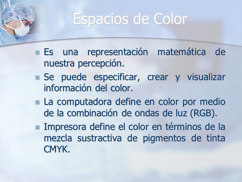 Espacios de Color Es una representación matemática de nuestra percepción. Es una representación matemática de nuestra percepción. Se puede especificar