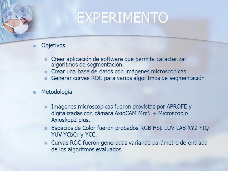 EXPERIMENTO Objetivos Objetivos Crear aplicación de software que permita caracterizar algoritmos de segmentación. Crear aplicación de software que per