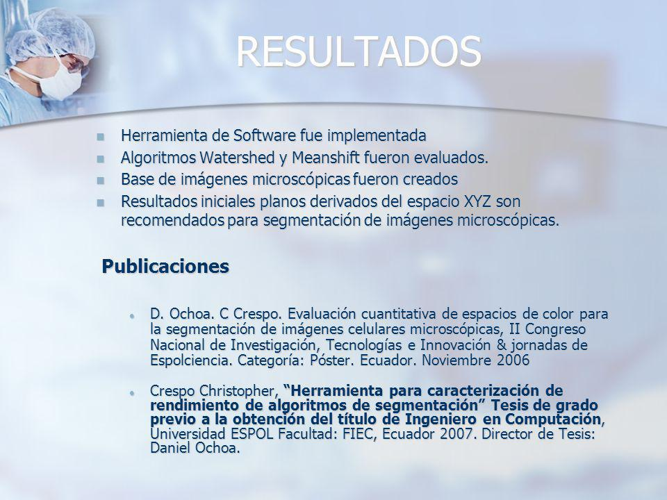 RESULTADOS Herramienta de Software fue implementada Herramienta de Software fue implementada Algoritmos Watershed y Meanshift fueron evaluados. Algori