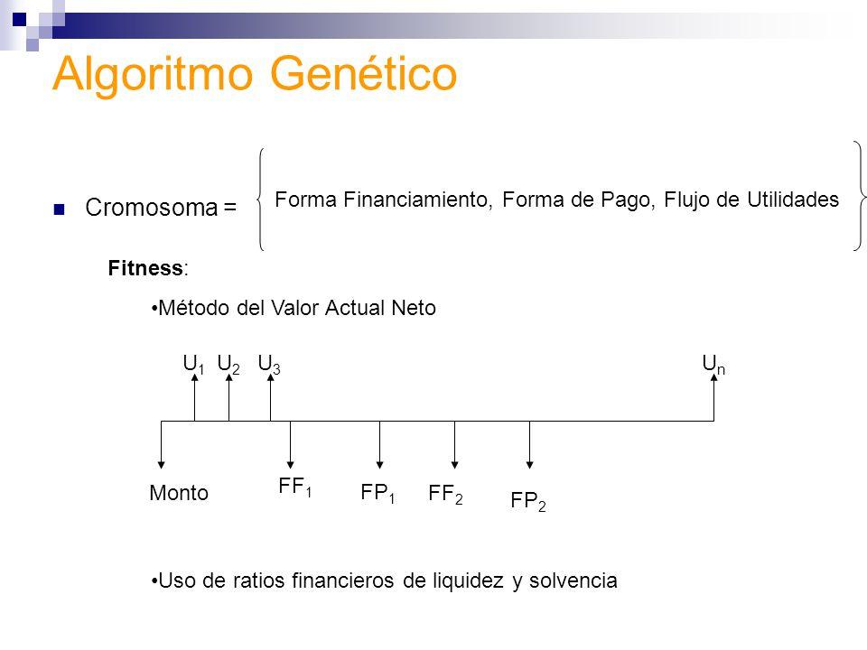 Fitness: Método del Valor Actual Neto Uso de ratios financieros de liquidez y solvencia Algoritmo Genético Cromosoma = Forma Financiamiento, Forma de