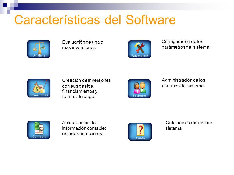 Características del Software Evaluación de una o mas inversiones Creación de inversiones con sus gastos, financiamientos y formas de pago Actualización de información contable: estados financieros Administración de los usuarios del sistema Configuración de los parámetros del sistema.