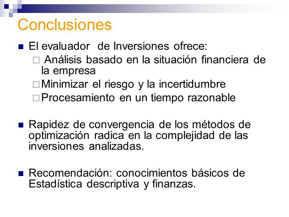 Conclusiones El evaluador de Inversiones ofrece: Análisis basado en la situación financiera de la empresa Minimizar el riesgo y la incertidumbre Proce