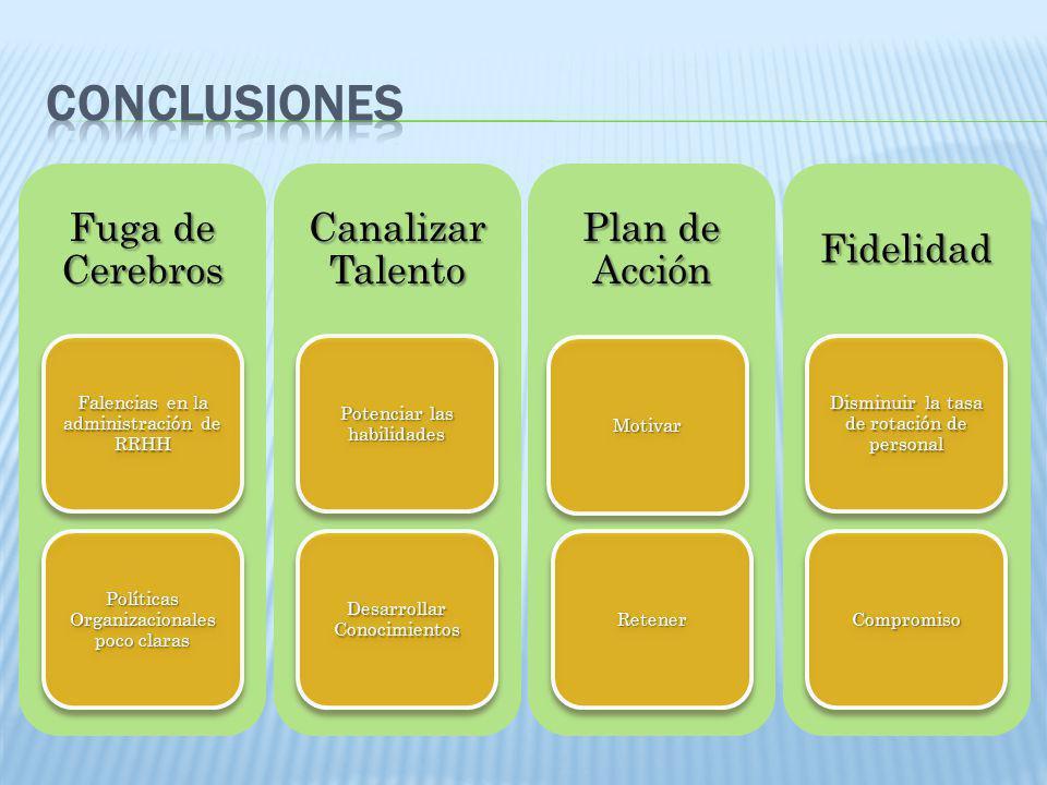 Fuga de Cerebros Falencias en la administración de RRHH Políticas Organizacionales poco claras Canalizar Talento Potenciar las habilidades Desarrollar