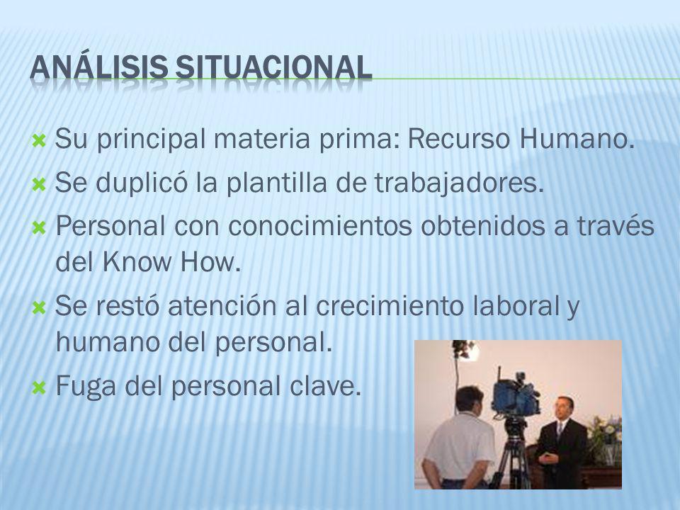 Su principal materia prima: Recurso Humano. Se duplicó la plantilla de trabajadores. Personal con conocimientos obtenidos a través del Know How. Se re