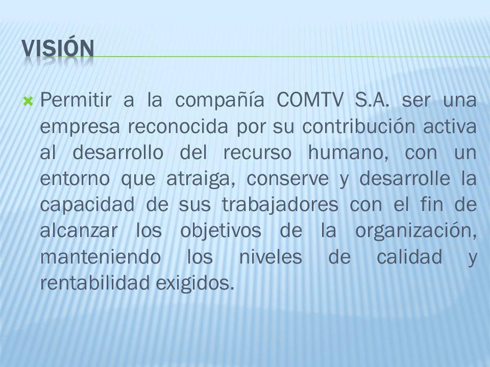 Permitir a la compañía COMTV S.A. ser una empresa reconocida por su contribución activa al desarrollo del recurso humano, con un entorno que atraiga,