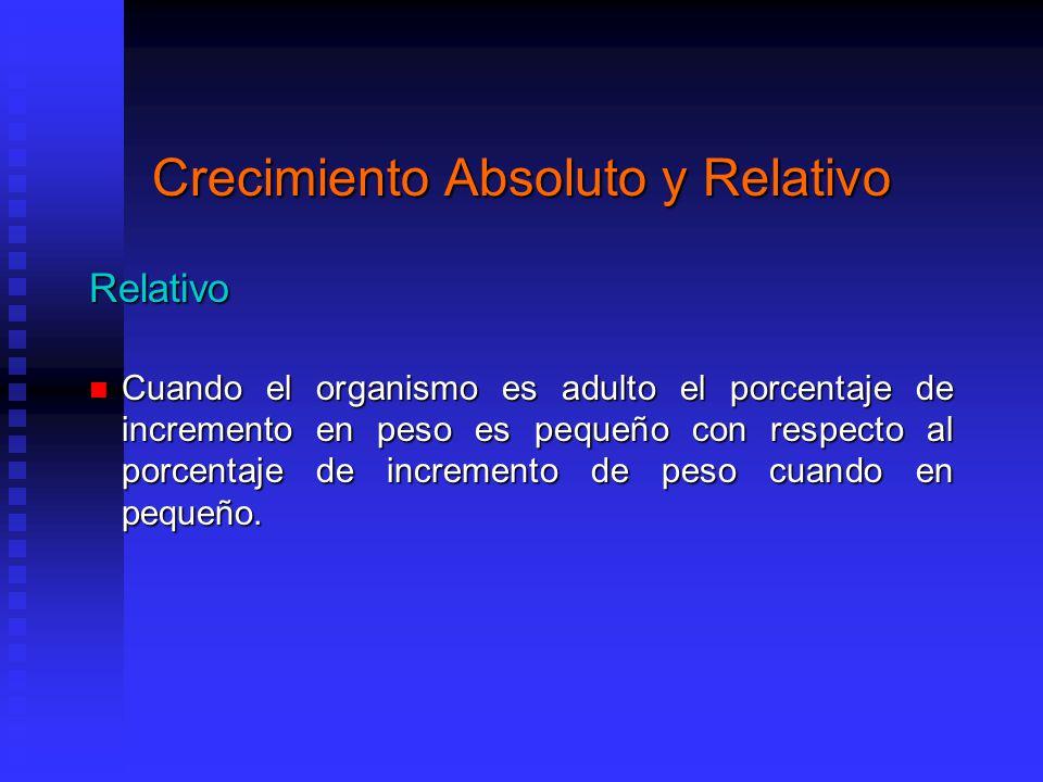 Crecimiento Absoluto y Relativo Relativo Cuando el organismo es adulto el porcentaje de incremento en peso es pequeño con respecto al porcentaje de incremento de peso cuando en pequeño.