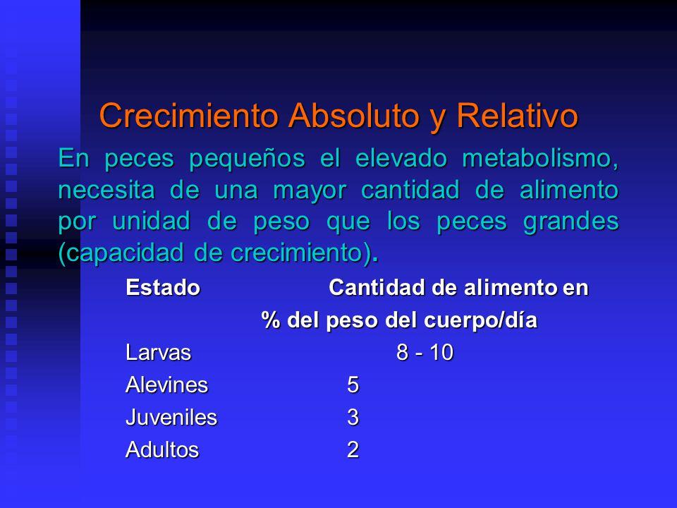 Crecimiento Absoluto y Relativo En peces pequeños el elevado metabolismo, necesita de una mayor cantidad de alimento por unidad de peso que los peces grandes (capacidad de crecimiento).