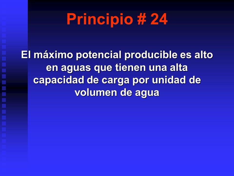 Principio # 24 El máximo potencial producible es alto en aguas que tienen una alta capacidad de carga por unidad de volumen de agua