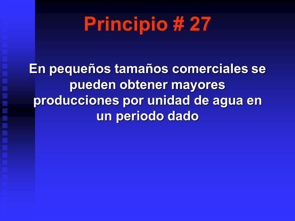 Principio # 27 En pequeños tamaños comerciales se pueden obtener mayores producciones por unidad de agua en un periodo dado