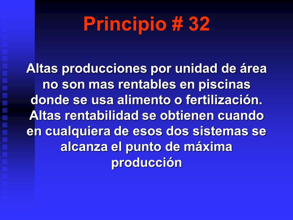 Principio # 32 Altas producciones por unidad de área no son mas rentables en piscinas donde se usa alimento o fertilización.