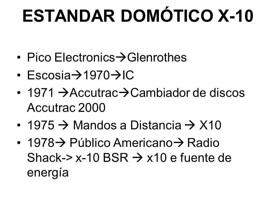 ESTANDAR DOMÓTICO X-10 Pico Electronics Glenrothes Escosia 1970 IC 1971 Accutrac Cambiador de discos Accutrac 2000 1975 Mandos a Distancia X10 1978 Pú