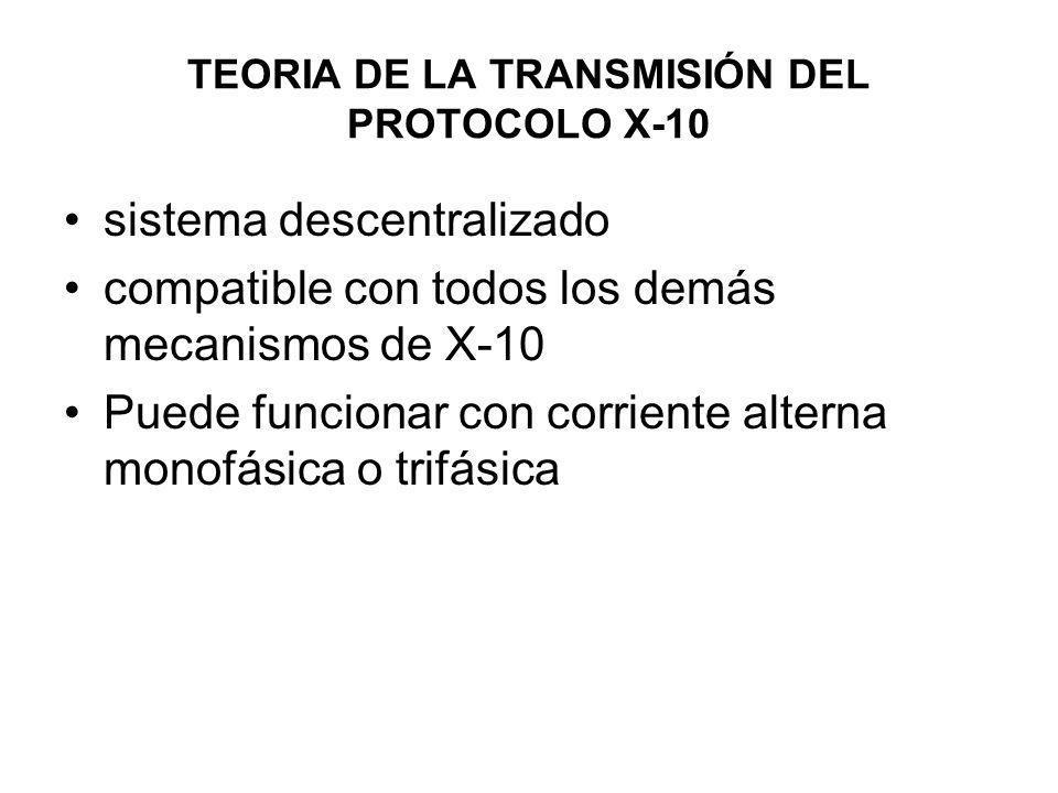 TEORIA DE LA TRANSMISIÓN DEL PROTOCOLO X-10 sistema descentralizado compatible con todos los demás mecanismos de X-10 Puede funcionar con corriente al