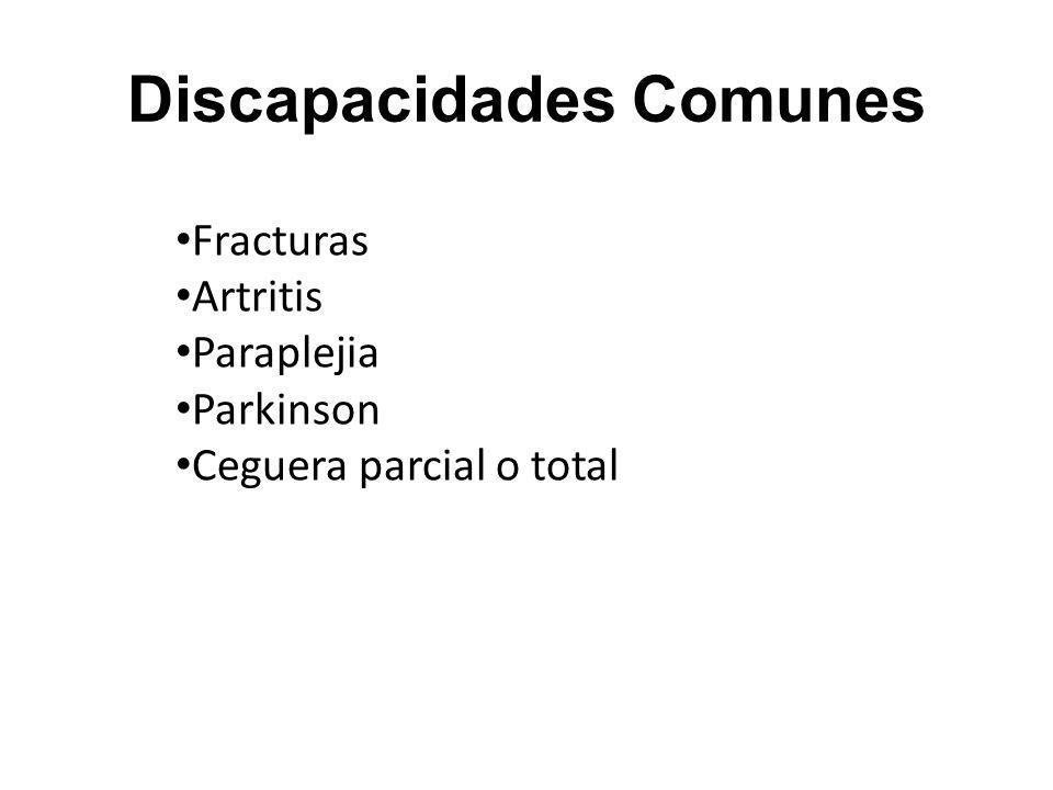 Discapacidades Comunes Fracturas Artritis Paraplejia Parkinson Ceguera parcial o total