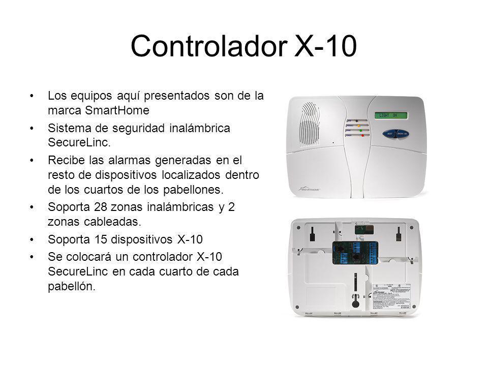 Controlador X-10 Los equipos aquí presentados son de la marca SmartHome Sistema de seguridad inalámbrica SecureLinc. Recibe las alarmas generadas en e