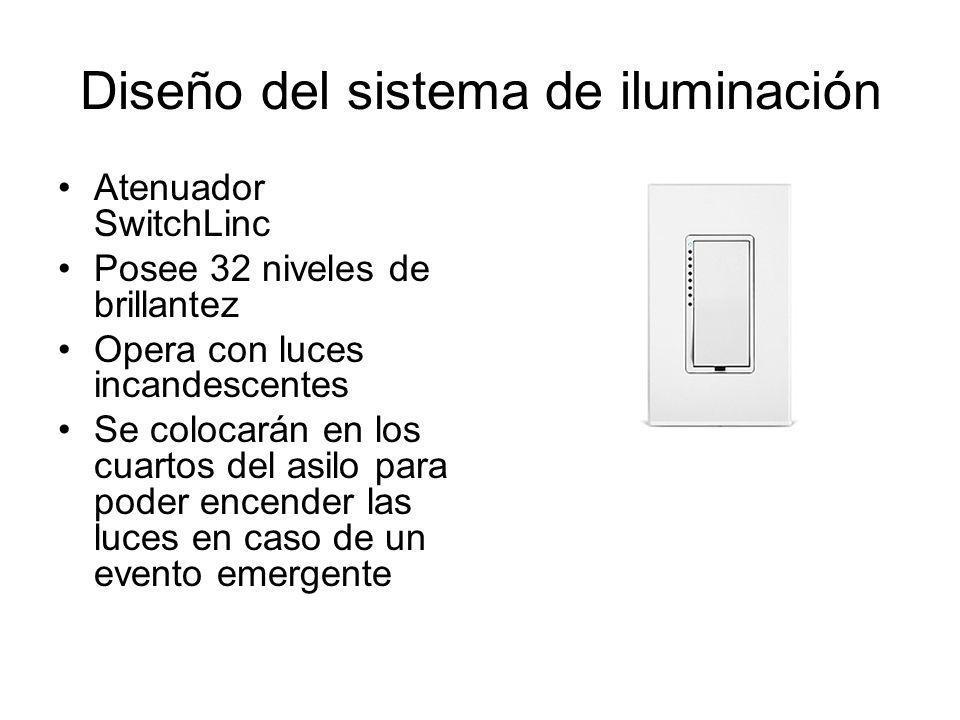 Diseño del sistema de iluminación Atenuador SwitchLinc Posee 32 niveles de brillantez Opera con luces incandescentes Se colocarán en los cuartos del a