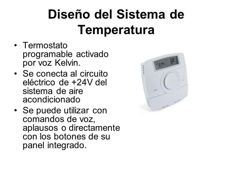 Diseño del Sistema de Temperatura Termostato programable activado por voz Kelvin. Se conecta al circuito eléctrico de +24V del sistema de aire acondic