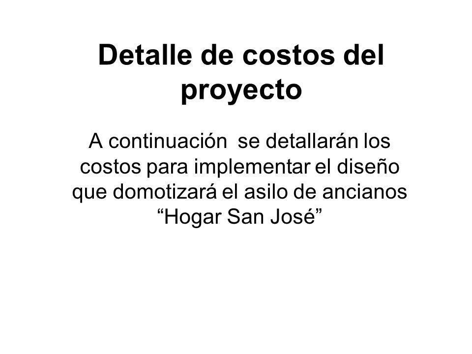Detalle de costos del proyecto A continuación se detallarán los costos para implementar el diseño que domotizará el asilo de ancianos Hogar San José