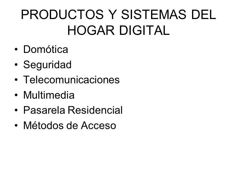 PRODUCTOS Y SISTEMAS DEL HOGAR DIGITAL Domótica Seguridad Telecomunicaciones Multimedia Pasarela Residencial Métodos de Acceso