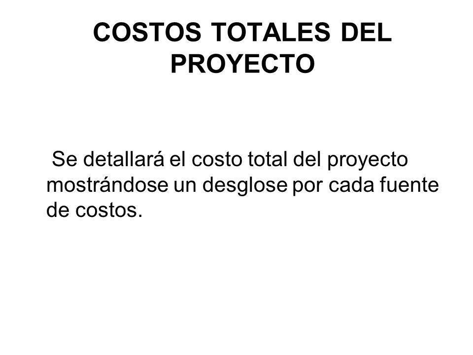 COSTOS TOTALES DEL PROYECTO Se detallará el costo total del proyecto mostrándose un desglose por cada fuente de costos.