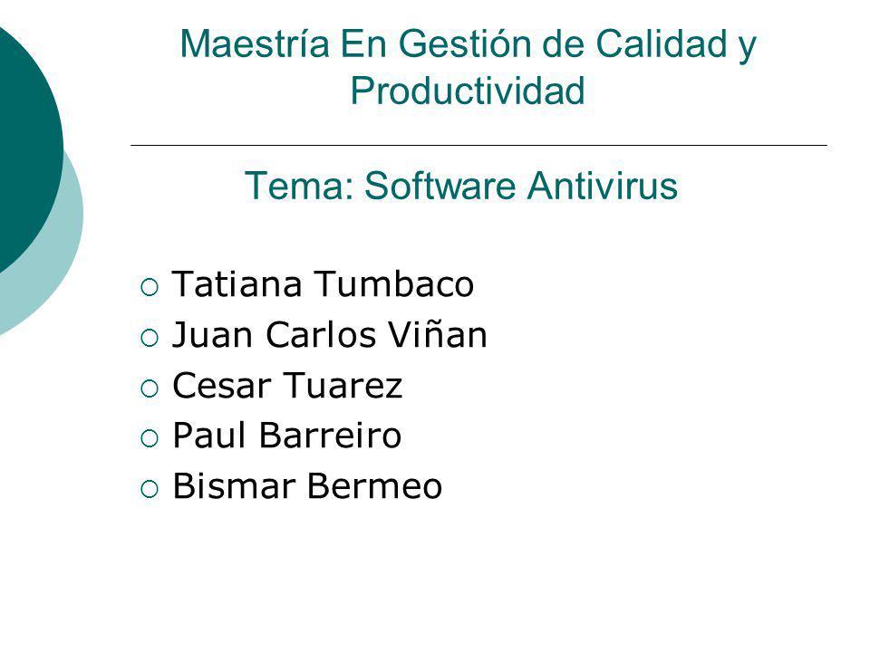 Tema: Software Antivirus Tatiana Tumbaco Juan Carlos Viñan Cesar Tuarez Paul Barreiro Bismar Bermeo Maestría En Gestión de Calidad y Productividad