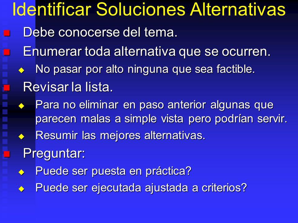 Identificar Soluciones Alternativas Debe conocerse del tema.