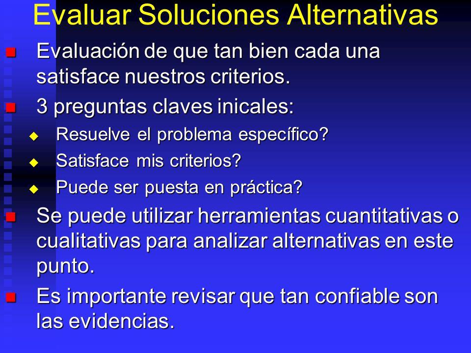 Evaluar Soluciones Alternativas Evaluación de que tan bien cada una satisface nuestros criterios. Evaluación de que tan bien cada una satisface nuestr